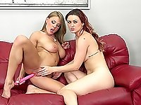 Sexy girlfriends play with their sex toy during a hot cam show