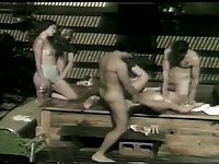 Some wild black and white sex tape of amateur vintage orgy outdoors