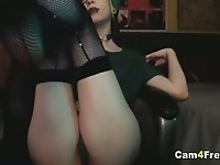 Goth Babe Gets naughty on Cam