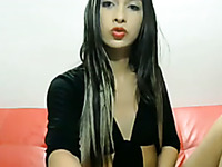 Long haired brunette ladyboy jerked off her own dick for my buddy