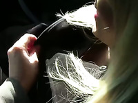Blowjob from adroable blonde teen babe in the car on cam