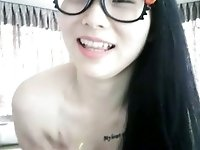 Torrid cute Asian nerdy girl worked for my friend on webcam and flashed bum
