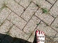 naughty celeste has perfect beautifull feet, OUTSIDE WET