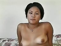 Asian amateur slut bends over for dick from her man