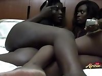 Extremely hot ebony lesbians going oral