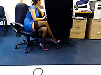 This nasty camgirl can't control herself at work when she's horny