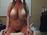 Hot amateur chick with epic natural tits is riding my dick in cowgirl position