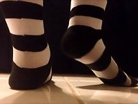 Black and White Striped Sock Presenting