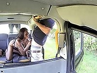 Bespectacled ebony slut gets really dirty with her male cab driver