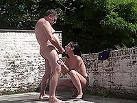 Amateur sucks older man's cock in outdoor scenes then fucks hard