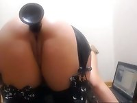 Big bottomed quite flexible blonde webcam bitch fucked ass with toy