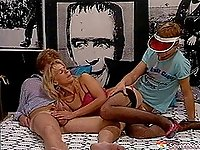 Stockings and lingerie blonde double teamed in a retro scene