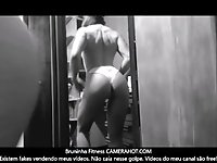 Fitness redhead model shaking ass at the mirror - Amateur brazilian ass