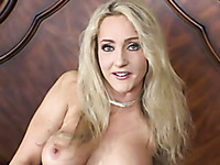 Magnificent blonde busty milf shows off her goodies on cam in her bedroom