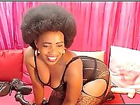 Afro milf with natural big tits as she got so horny and masturbate in front of her cam