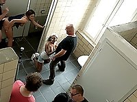 Multiple shags with Natalie Hot in the public bathroom caught on camera