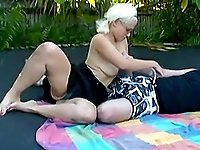 Hot blonde amateur fucked on trampoline