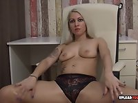 Gorgeous blonde spreads herself for the camera