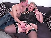 Short mature blonde BBW granny Babet fucked doggy style on the bed
