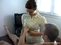 Amateur redhead teen masseuse giving him a happy ending