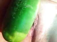 sexy sub slut destroying daddy's cunt with a giant cucumber