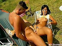 On a camping trip with his teen GF that loves it in the ass