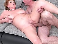 Couch one on one action with dick hungry granny Katalina