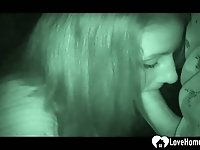 Night cam captures a hottie sucking dick