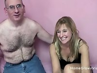 Thick blonde amateur gets fucked by an older man