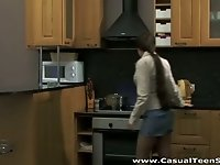 Dude fucks chick in the kitchen and in the bedroom
