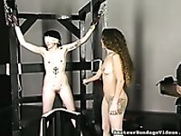 Long haired slim mistress is spanking skinny tied up sex slave
