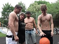 Amateur granny gets fucked in gangbang on the basketball court