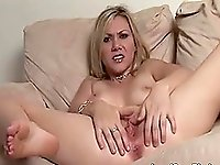 Hot horny blonde babe on bed fingering her tight wet pussy and enjoying
