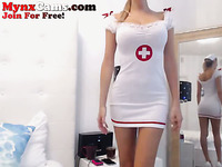 This blondie is a sexy webcam model who dresses up like a nurse for me