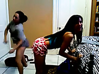 Three naughty brunettes in shorts shake their appetizing big bubble asses