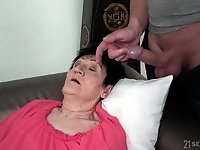 Mature short haired granny Anastasia seduced and fucked hardcore