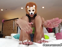 Footfetish babe doggystyled in pov