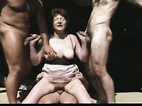Amateur curly haired mature slut is fucked missionary after oral gangbang