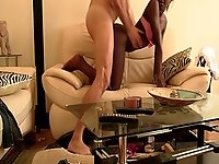 Interracial sex session with a cute ebony goddess