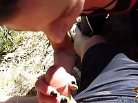 Sneaky blowjob on mountain hike - outdoor