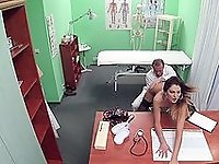 Doctor makes out with the horny babe and even fucks her