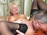 Matura blonde loves when her lover licks and sucks on her boobs