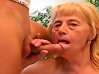 Elderly blonde chick wants to be seduced by a hot hunk