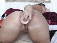 Huge toy is used by a voracious webcam nympho for her anal masturbation