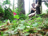 Horny white girlfriend in the forest blowing dick on cam