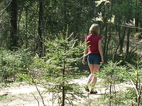 Hot blonde young chick from Russia pissed under the tree