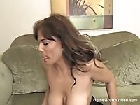 Brunette amateur with big natural tits gets fucked hard