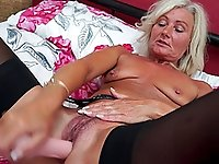 Blonde amateur mature British MILF Ellen B. masturbates with toys