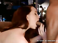 Pale skin redhead college girl blows dick in front of webcam
