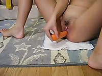 Some vegetables were rather useful for webcam whore's steamy masturbation